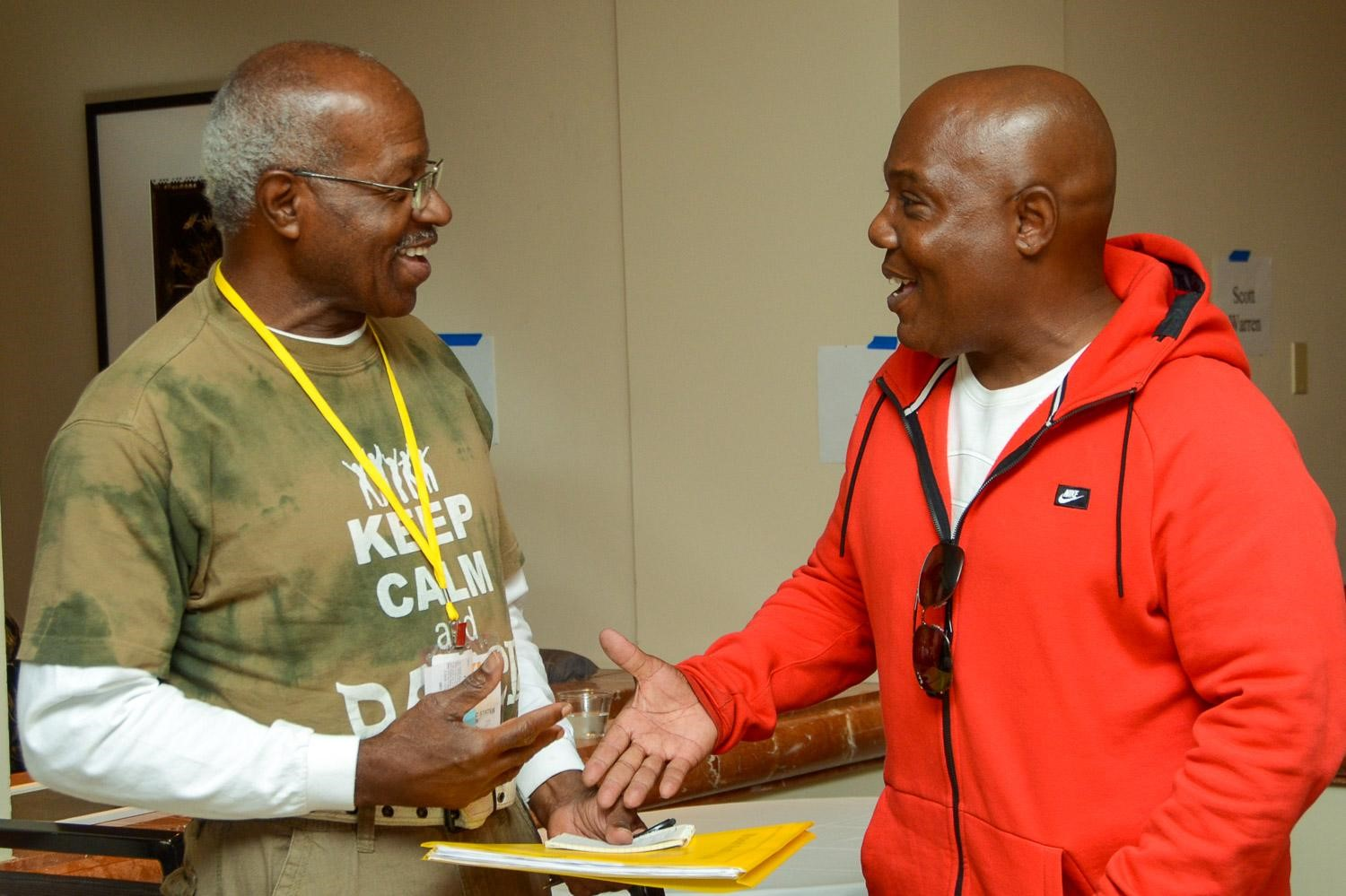 Veteran A&R executive/producer/publisher Ty Knox (right) meets a TAXI member during a One-to-One Mentor session.