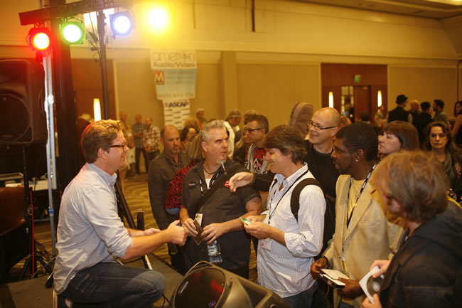 Fox Films Music Executive/Music Supervisor, Patrick Houlihan does some meeting and greeting with TAXI members right after his panel finished up.