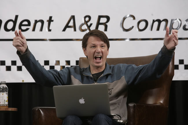 Hollywood Music Supervisor John Houlihan raises his hands and shouts, 'That's what I'm looking for!' during his presentation at the Road Rally.