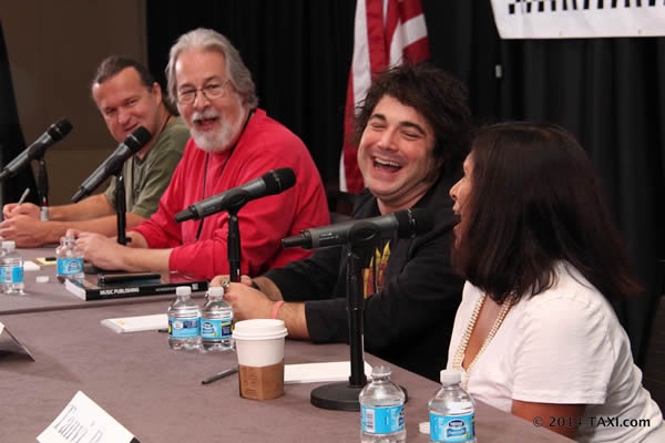Tanvi Patel (right) got a hearty laugh from her fellow panelists, (R to L) Jeff Gray, Steve Winogradsky, and Matt Hirt during the Understanding and Profiting from the Music Library Business panel at TAXI's Road Rally 2014. Photo by Ryan Taalbi