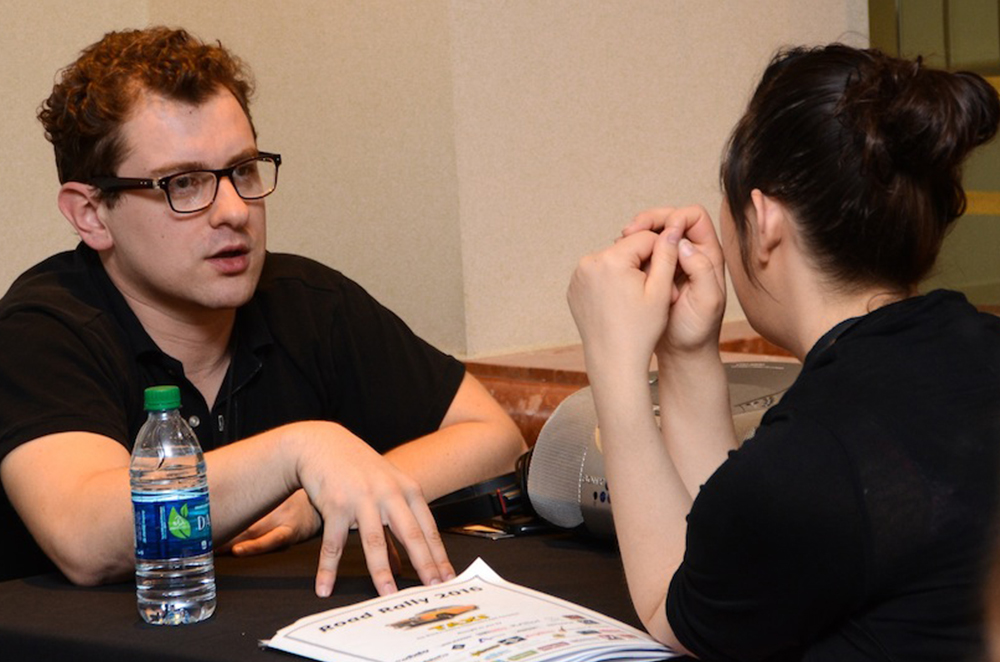 Music Supervisor Jacob Nathan gives feedback during a One-to-One Mentoring session on the first day of TAXI's 2016 Road Rally.