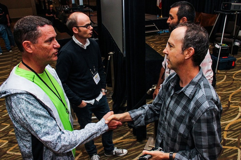 TAXI member Russell Landwehr (left) meets Music Supervisor Jonathan Weiss in the foreground, while his friend and fellow member Pedro Costa (left, rear) meets Reality Show Editor David McCintosh in the background. Gotta love the connections that are made at the Road Rally!