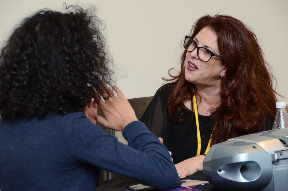 Music Licensing executive Michele Wernick (President, MW Music) gives some positive feedback to a TAXI member during a One-to-One Mentor Session.