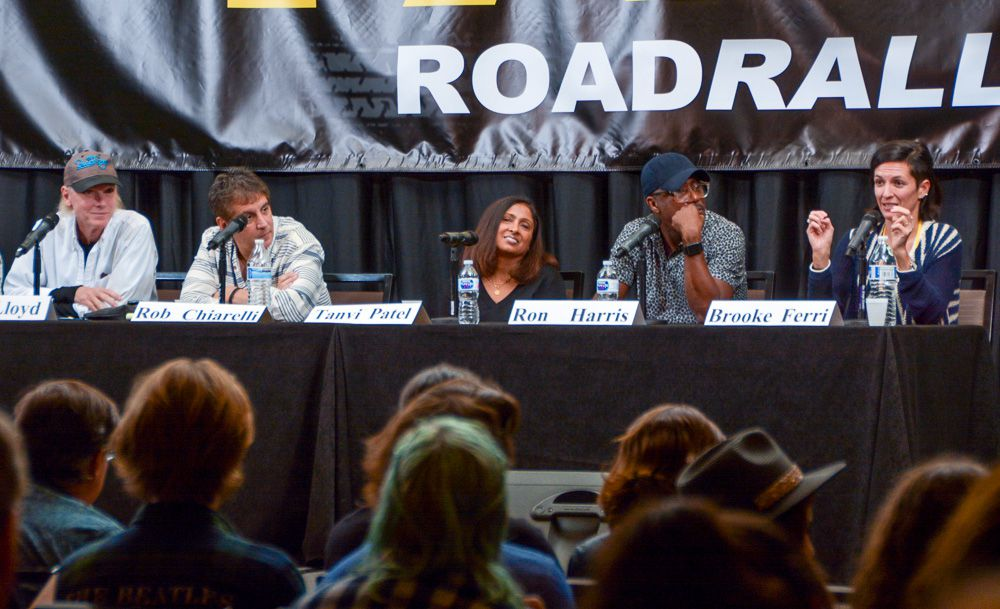 Brooke Ferri (CEO, Match Maker Music) is getting all smiles from her fellow panelists as she makes a point on the Happy Ending Listening panel. The other panelists are (left to right) Michael Lloyd (Hit Producer), Rob Chiarelli (Hit Producer), Tanvi Patel (CEO, Crucial Music), and Ron Harris (Hit Producer).