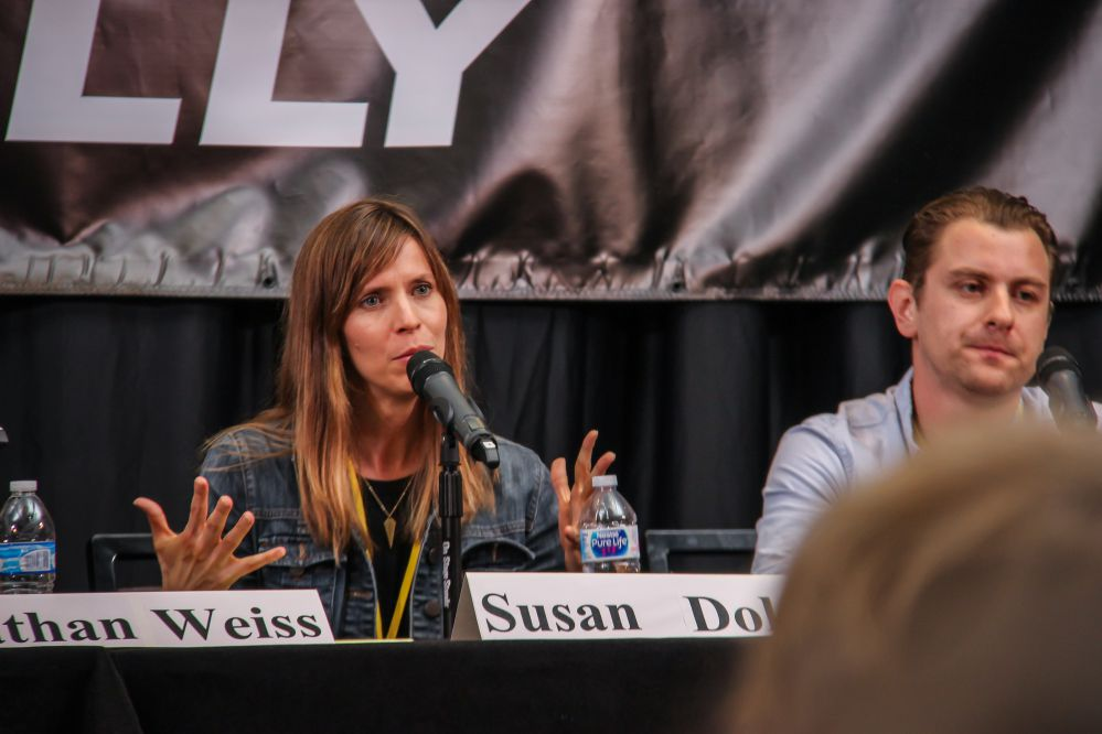 Music Supervisor Susan Dolan answers a TAXI member's question while fellow panelist Jacob Nathan (A&R Head, Fervor Records/Music Supervisor) looks like he's got something he'd like to add as well.