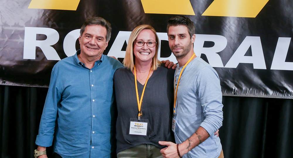 TAXI's Michael Laskow (left) with music licensing expert Shannon Quisenberry and music supervisor Frank Palazzolo shortly after their panel during TAXI's 22nd Road Rally convention.