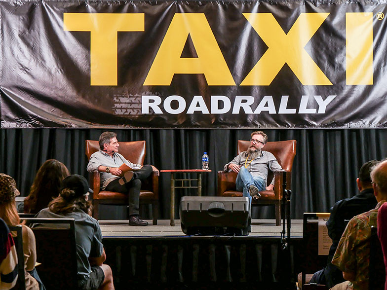 TAXI's Michael Laskow interviews music for advertising expert/music supervisor, Karl Richter during the Which Music Gets Used for Advertising panel at TAXI's 2018 Road Rally.