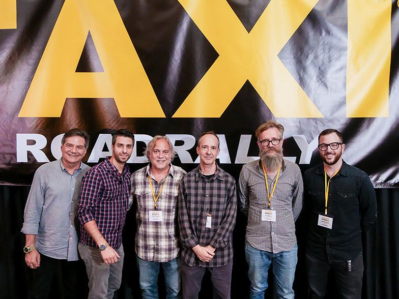 An All-Star lineup of music supervisors pose for a group shot after their panel. (Left to right) TAXI's Michael Laskow, Frank Palazzolo, Mason Cooper, Jonathan Weiss, Karl Richter, and Naaman Snell. These supervisors represent several specialties including, dramatic TV, feature films, reality TV, advertising, and trailers. We had it all covered at this year's Road Rally!