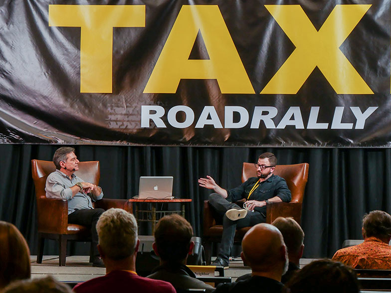 Music supervisor Naaman Snell (right) specializes in music for Film Trailers and TV Promos. He was a wealth of information when TAXI's Michael Laskow interviewed him during the Road Rally.