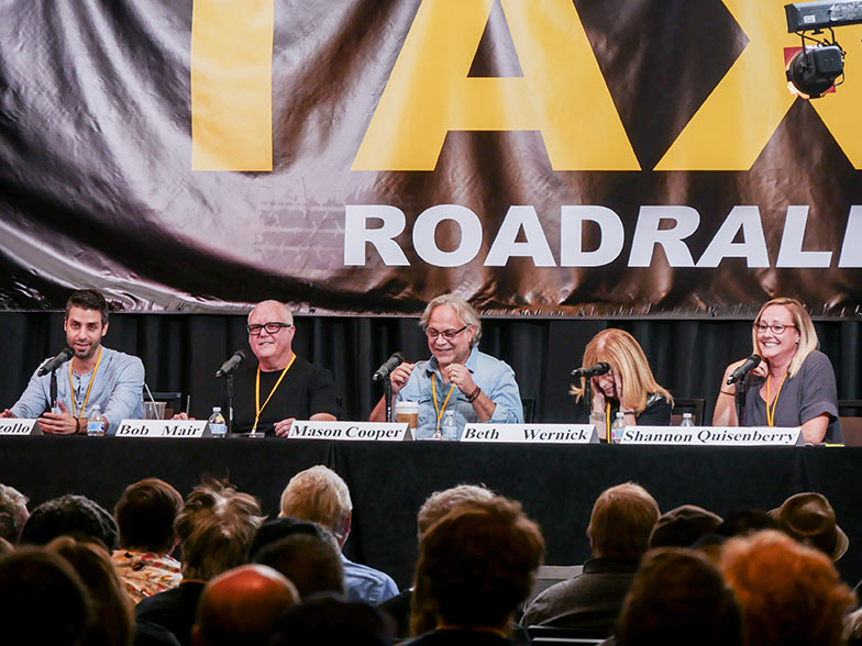 (left to right) Music supervisor Frank Palazzolo, music library owner Bob Mair, music supervisor Mason Cooper, music library owner Beth Wernick, and music licensing executive Shannon Quisenberry enjoy a light moment during their pitch panel at TAXI 23rd Road Rally convention.