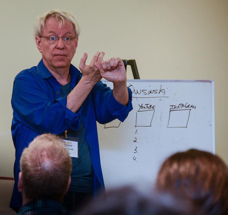 Social Media expert Bobby Owsinksi taught a great class on… wait for it… social media for musicians!