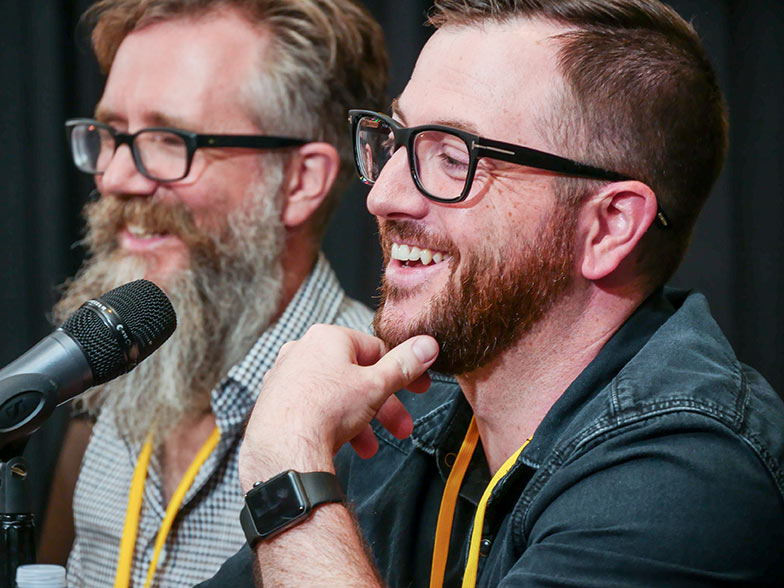Music supervisors Karl Richter and Naaman Snell are all smiles as they sat on the Film and TV Music Pitch Panel.
