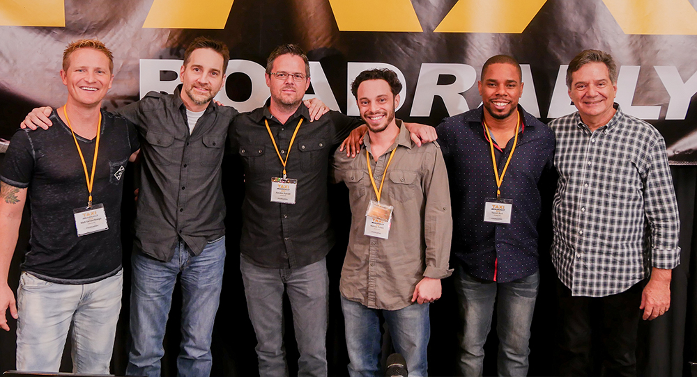 (Left to right) Matt VanderBoegh, Keith LuBrant, Randon Purcell, Marcus Cohen and Terrell Burt are joined by TAXI's Michael Laskow for a photo after the panel was wrapped up.