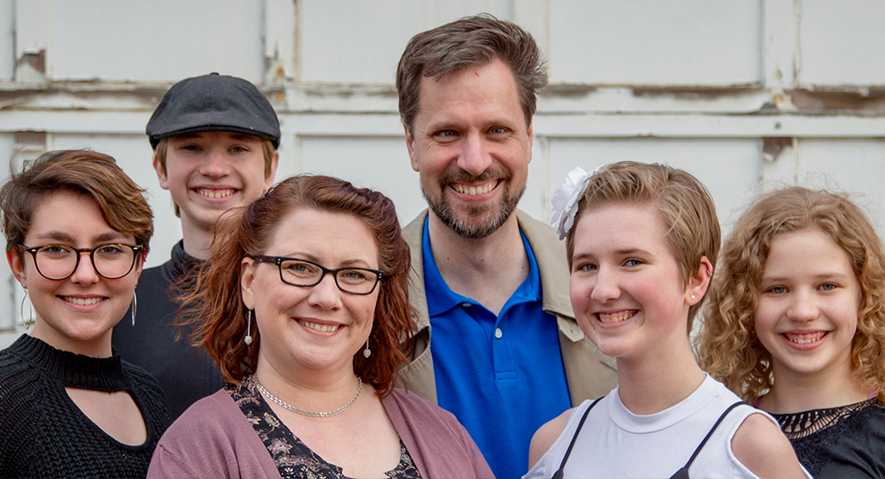 The entire Ashton family (left to right): Em, Karl, Lydia, Nathan, Mikaela, and Gwenevere.