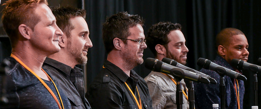 Matthew VanderBoegh, Keith LuBrant, Randon Purcell, Marcus Cohen and Terrell Burt during their panel at TAXI's Road Rally convention.