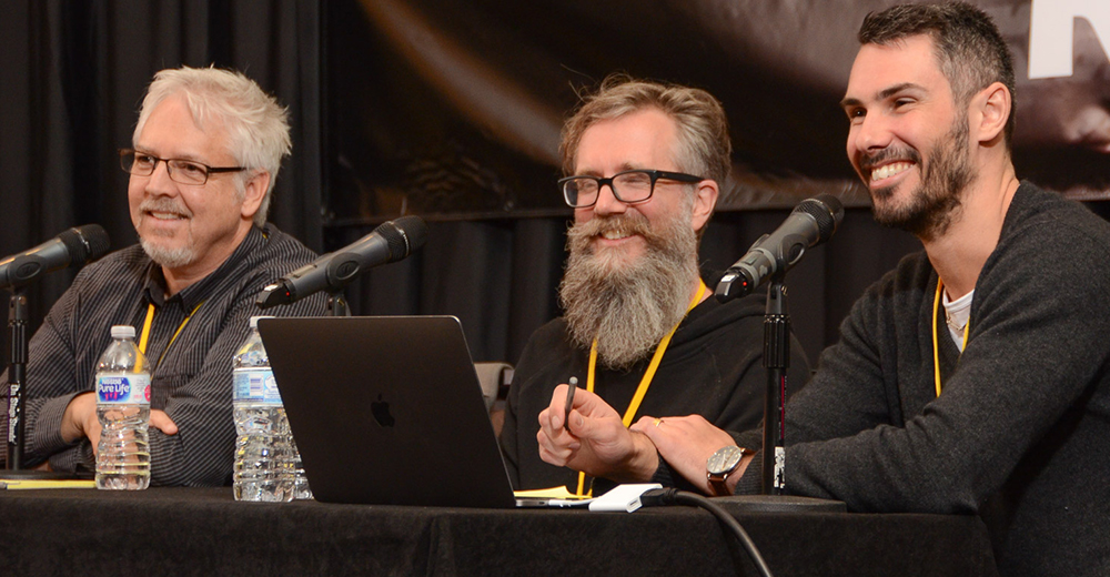 Panelists (left to right), Steve Barden, Karl Richter, and Tim Bern enjoy a funny moment during their panel at TAXI's Road Rally last November.