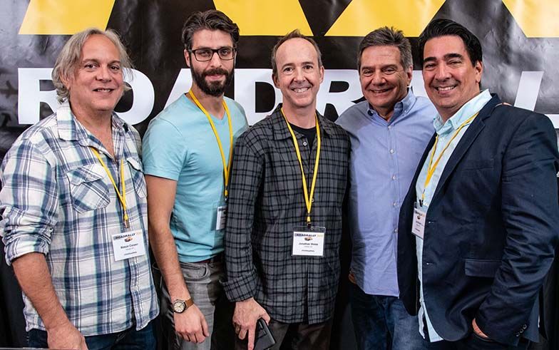 (left to right) Music Supervisors Mason Cooper (Film/TV), Frank Palazzolo (Scripted TV), Jonathan Weiss (Unscripted TV), TAXI's Michael Laskow, and Joe Brandt (Unscripted TV/Documentary/Film) pose for s shot right after the Music Supervisor Listening Panel.
