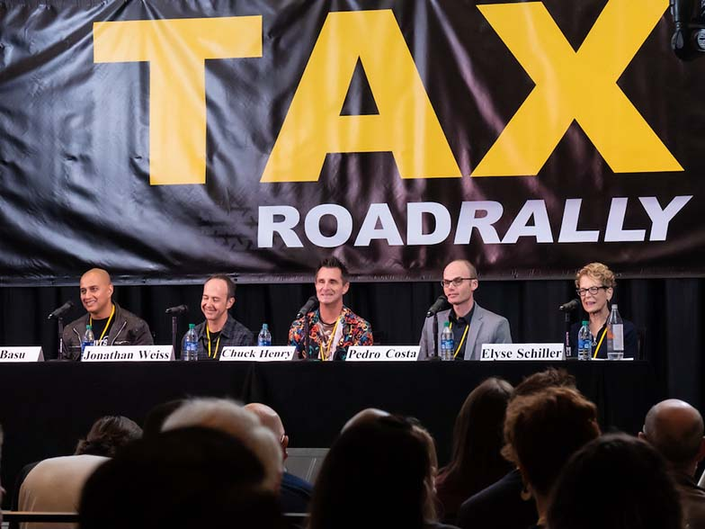 The panelists are all smiles during the Instrumental Pitch and Feedback Panel with (left to right) Joy Basu (CEO, Lab Hits Music), Jonathan Weiss (Music Supervisor), Chuck Henry (CEO, 10 West Music), Pedro Costa (CEO, InStyle Music), and Elyse Schiller (Executive Producer, Masterphonic).
