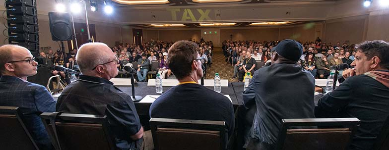 This is a great shot, looking out at the audience during the Happy Ending Pitch Panel with (left to right) Pedro Costa (Music Licensing Executive), Bob Mair (Music Licensing Executive), Greg O'Conner (Music Licensing Executive), Ron Harris (A&R/Multi-Platinum Producer), Rob Chiarelli (100x Platinum, Grammy-Winning Producer, Mixer).