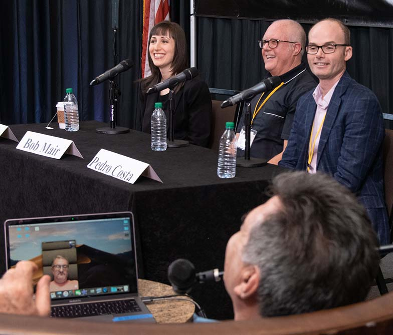 Publisher Michael Eames (on laptop screen in foreground) couldn't be in Los Angeles to join his fellow panelists (l to r) music attorney Erin Jacobson, publisher Bob Mair, and publisher Pedro Costa for the Understanding Music Library Contracts panel, so we had him join them via Facetime. The miracle of modern technology!